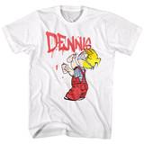 Dennis The Menace Graffiti White Adult T-Shirt