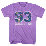 Saved by the Bell Pattern Varsity Neon Purple Heather T-Shirt