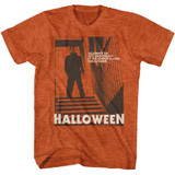 Halloween Stairs Orange Heather Adult T-Shirt