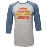 Jaws Shark Sun Gray/Blue Adult Raglan Baseball T-Shirt