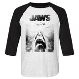 Jaws Black And White Adult Raglan Baseball T-Shirt