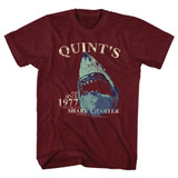 Jaws Quint's Charter Vintage Maroon Heather Adult T-Shirt