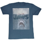 Jaws Transparent Navy Heather Adult T-Shirt
