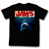 Jaws Poster Black Adult T-Shirt