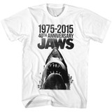 Jaws 40 Years White Adult T-Shirt