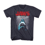 Jaws Red Logo Navy Heather Adult T-Shirt