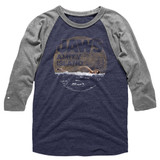 Jaws Late Swim Blue/Gray Adult Raglan Baseball T-Shirt