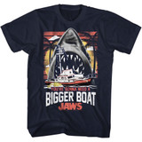 Jaws Bigger Boat Classic Navy Adult T-Shirt