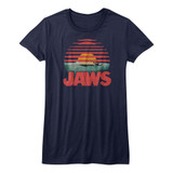 Jaws Sliced Navy Junior Women's T-Shirt