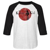 Karate Kid 80's Logo White/Black Adult Raglan Baseball T-Shirt