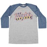 Major League Logo Gray/Blue Adult Raglan Baseball T-Shirt