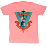 Popeye Sailor Man Triangle Bright Orange Heather Adult T-Shirt