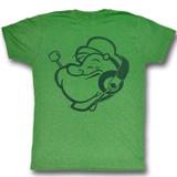 Popeye Headphones Kelly Heather Adult T-Shirt
