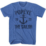Popeye Anchor Royal Heather Adult T-Shirt