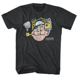 Popeye Spinach Black Heather Adult T-Shirt
