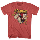 Popeye Gold Banner Red Heather Adult T-Shirt