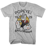 Popeye Old Tat Gray Heather Adult T-Shirt