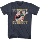 Popeye Suns Out Guns Out Navy Heather Adult T-Shirt