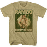 Rambo Poster Khaki Heather Adult T-Shirt