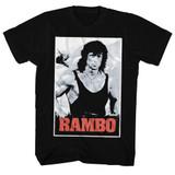 Rambo Black And White Black Adult T-Shirt