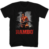 Rambo Three Way Black Adult T-Shirt