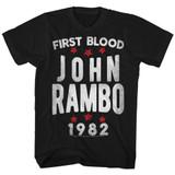 Rambo Stars Black Adult T-Shirt