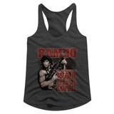 Rambo Become War Dark Gray Junior Women's Racerback Tank Top T-Shirt