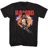 Rambo Explode Black Adult T-Shirt
