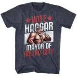Final Fight Vote Haggar Navy Heather Adult T-Shirt