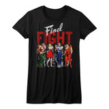 Final Fight Panels Black Junior Women's T-Shirt