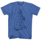 Mega Man Blueprint Royal Heather Adult T-Shirt