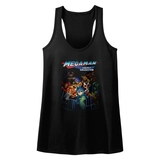 Mega Man Legacy Collection Black Junior Women's Racerback Tank Top T-Shirt