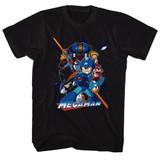 Mega Man Collage Orange Beam Black Adult T-Shirt