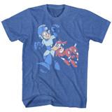 Mega Man Let's Goooo Royal Heather Adult T-Shirt