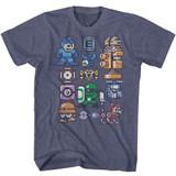 Mega Man Pixelmans Vintage Blue Heather Adult T-Shirt