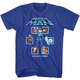 Mega Man Select Screen Remix Royal Adult T-Shirt