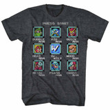 Mega Man Stage Select Black Heather Adult T-Shirt