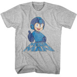 Mega Man Right On Gray Heather Adult T-Shirt