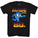 Mega Man Made In The 80's Black Adult T-Shirt