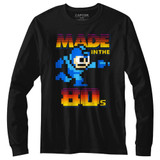 Mega Man Made In The 80's Black Adult Long Sleeve T-Shirt