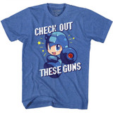 Mega Man Check It Out Royal Heather Adult T-Shirt