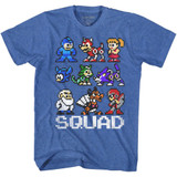 Mega Man Squad Royal Heather Adult T-Shirt