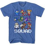 Mega Man Squad Royal Heather Adult T-Shirt
