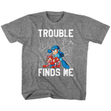 Mega Man Trouble Graphite Heather Children's T-Shirt