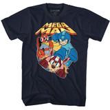 Mega Man Flat Colors Navy Adult T-Shirt