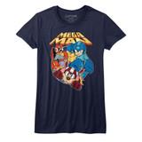 Mega Man Flat Colors Navy Junior Women's T-Shirt