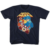 Mega Man Flat Colors Navy Youth T-Shirt