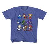 Mega Man The Cast Vintage Royal Youth T-Shirt