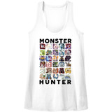 Monster Hunter Let's Hunt White Junior Women's Racerback Tank Top T-Shirt