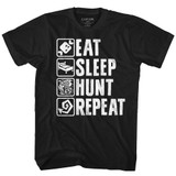 Monster Hunter Hunt Repeat Black Adult T-Shirt